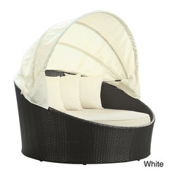 Modway - Siesta Outdoor Rattan Espresso with White Cushions Canopy Bed - Add resort style to your backyard with an all-weather outdoor canopy bed. Its weather-resistant fabrics and retractable sun guard make the bed useful any time of year. The dark rattan bed has white cushions that give it comfort and style.