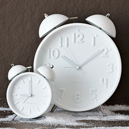 Ceramic White Alarm Clock - A clock is a must, especially when it's white and oversize.
