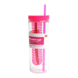 Flavor Infusion Beverage Cup, Pink - Add a little splash of flavor and color to your drinks! The Flavor Infusion Beverage Cup is the easiest way to make the perfect drink. Simply fill the infusion cup with fruits, citrus wedges, herbs or anything you want, add liquid (Water, Juice or Soda) and you'll have an awesome drink!