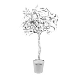 "Stray Dog Designs - Stray Dog Designs Ficus Tree White - The white Stray Dog Designs Ficus tree grows with spirited style. Rising from a round planter, its whimsical papier mache tree blooms into a whimsical accent. 30"" Dia x 60""H; Handcrafted with low VOC paint"