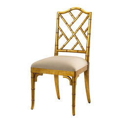 Frontgate - Moselle Side Chair - Mahogany with antique gold leaf finish. Ivory-colored upholstered seat. Also available as an arm chair. Coordinates with other items from our French Heritage Uptown Collection. Transitional, English, and Eastern-inspired interiors get a little more worldly with our Moselle Side Chair. Crafted of carved wood to resemble bamboo, the fretwork of Chippendale designs is placed on the diagonal, creating a distinct seat where East-meets-West.  .  .  .  .