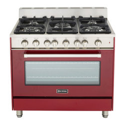 """Verona 36"""" Gas Range - Verona 36"""" Gas Range.  Features a  convection oven with Infrared Broiler.  5 high BTU sealed burners with removable cast-iron grates and caps.  Full-width storage compartment."""