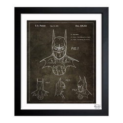 """The Oliver Gal Artist Co. - ''Batman 1992' 26""""x32"""" Framed Art - Exclusive blueprints inspired by real vintage patent drawings & illustrations. Handcrafted in the Oliver Gal Artist Co. Studios in Miami, Florida. Produced on matte proofing paper and hand framed by professional framers in a 1.2"""" premium black wood frame. Perfect for any interior design project, gifts, office décor, or to add special value to one of your favorite collections."""