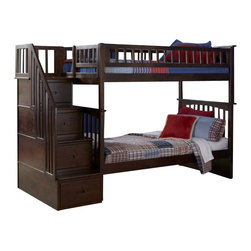 Atlantic Furniture - Atlantic Furniture Columbia Staircase Bunk Bed Twin Over Twin in Antique Walnut - Atlantic Furniture - Bunk Beds - AB55604