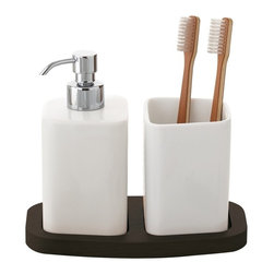 Gedy - White Soap Dispenser and Tumbler Combo - Need a soap dispenser,tumbler holder? This one is a free standing contemporary soap dispenser,tumbler holder that will fit perfectly into your contemporary master bath. Designed and built in Italy by Gedy, this designer-quality soap dispenser,tumbler holder is built with quality pottery and coated in wenge. Trendy soap dispenser,tumbler holder, made in quality pottery. Soap Dispenser,Tumbler Holder coated in wenge. Designed and built in Italy by Gedy. Part of the Gedy Jennifer collection.