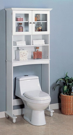 Coaster - White Casual Storage Rack - White finish bathroom rack. Includes storage shelves, glass door, and a top cupboard.