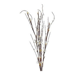 Gerson Company, The - Lighted Clear Acrylic Branches with 30 Lights - Add a wonderful lighted garden ambience to your interior decor with this set of three lighted floral branches. The warm lighted LED lights create a tranquil atmosphere.
