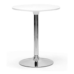 Baxton Studio - Baxton Studio Ji Small White Modern Bistro Table - Delightfully versatile, our Ji Bistro Table has more to offer than initially meets the eye. Easily tucked into a corner for a dining nook or placed on the patio for some beverages al fresco, this Chinese-made petite table does it all. The table's base and support post are made of durable, stylish chrome-plated steel. A round white ABS plastic tabletop is easily cleaned off with a damp cloth. Assembly is required.