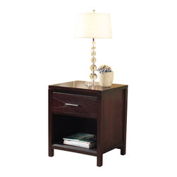 Modus Furniture - Modus Nevis Charging Station Nightstand in Espresso - Modus Furniture - Nightstands - NV2381P - Crafted from Tropical Mahogany solids and a variety of beautiful veneers the Nevis collection features solid wood drawer boxes with English dovetail joints on both front and back full extension ball bearing drawer glides and are corner blocked to ensure rigidity making them as functional as they are sleek.   The wide variety of pieces are enhanced by an elaborate American finishing process in either a rich Spice or a deep dark Espresso both complimented by brushed chrome hardware.   Together with a vast array of contemporary platform low profile and sleigh bed styles the Nevis collection blends the sleek and exotic with the functional.