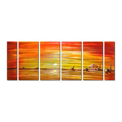 Pure Art - Humble Abode at Sunset Set of 6 - It seems that the artist wanted to show how endless and merciless the landscape can be. It depicts a small, humble home to the right of the work, dotted by a few forlorn rocks and tree shapes that resemble cypress or arborvitae. The sun is intensely orange and you can almost feel its heat as it beats upon the surface of the earth.Made with top grade aluminum material and handcrafted with the use of special colors, it is a very appealing piece that sticks out with its genuine glow. Easy to hang and clean.