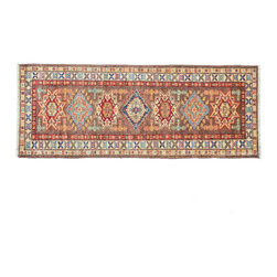 2'X7' Oriental Rug, Hand Knotted Runner Chocolate Brown Fine Kazak Rug SH11316 - This collections consists of well known classical southwestern designs like Kazaks, Serapis, Herizs, Mamluks, Kilims, and Bokaras. These tribal motifs are very popular down in the South and especially out west.