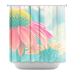 Shower Curtain HQ - Artist Monika Strigel, has so many pieces on Shower Curtain HQ. The reason for this is because she has such a versatile style. This is one of her photographs with a filter. The filtered photograph that is printed on this shower curtain is of a Echinacea purpurea (Eastern purple coneflower). These flowers bloom in late summer. The filter gives this shower curtain beautiful shades of pink yellow and blue. This shower curtain will look so beautiful in your bathroom!
