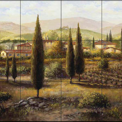 The Tile Mural Store (USA) - Tile Mural - Sb - Osteria - Kitchen Backsplash Ideas - This beautiful artwork by Sambataro has been digitally reproduced for tiles and depicts a beautiful tuscan lanscape.  Our kitchen tile murals are perfect to use as part of your kitchen backsplash tile project. Add interest to your kitchen backsplash wall with a decorative tile mural. If you are remodeling your kitchen or building a new home, install a tile mural above your stove top or install a tile mural above your sink. Adding a decorative tile mural to your backsplash is a wonderful idea and will liven up the space behind your cooktop or sink.