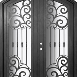 Barcelona 72x96  Arch Top Forged Iron Double Door 14 Gauge Steel - SKU# PHBFBATDR4 Exterior Prehung Double Glazed Steel Insulated Tempered Glass Arch Top Arch Full Lite Panel Wind-load Rated Mediterranean Victorian Bay and Gable Plantation Cape Cod Gulf Coast Colonial