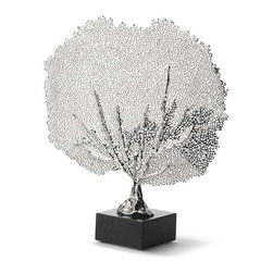 Regina Andrew - Metal Sea Fan - This metal sea fan is both chic and modern. The clean nickel finish makes this accessory the perfect touch on any shelf or table.