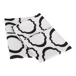 600 Thread Count King Pillowcase Set Cotton Rich Scroll Park  - White/Black - 600 King Pillowcase Set Cotton Rich Scroll Park  - White / Black