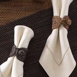Tava Napkin Ring, Set of 4, Honey stain - Hand woven of beautiful, naturally sturdy rattan, our Tava Napkin Rings add a note of rich texture to the table. Set of 4. Imported.