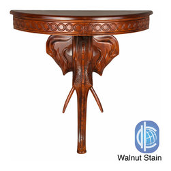 International Caravan - International Caravan Windsor Collection Carved Hardwood Exotic Elephant Wall Ta - Add a touch of classic elegance to your indoor furnishings with this wall table. This table features a beautiful,exotic elephant hand-carved wood style and your choice of a classic oak or antique white stain.