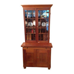Pre-owned American Vernacular Walnut & Pine Bookcase - An American pine and walnut bookcase or secretary that's in excellent condition. It was purchased at an auction at a local North Carolina estate, and it has traditional Southern style and charm written all over it. All of the finishes and hardware are original to this mid-19th century piece, and it's in excellent condition.