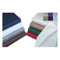Bed Linens - Egyptian Cotton 400 Thread Count Stripe Split King Sheet Sets Plum - 400 Thread Count Stripe Split King Sheet Sets