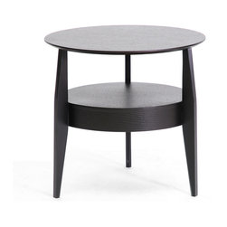 Wholesale Interiors - Gretton Black Wood Modern End Table with Drawer - Simplistic, timeless, and contemporary, the Gretton Side Table is a functional piece your home should not go without. Made of composite wood with a black-finished wood veneer, this is a neutral piece that works just as well as a nightstand or accent table. A small built-in drawer and shelf make this a piece of living room furniture to be coveted. To clean, wipe with a dry cloth. Made in China, assembly required.