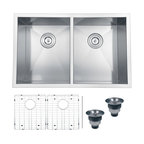 "Ruvati - Ruvati RVH7350 Undermount 16 Gauge 30"" Kitchen Sink Double Bowl - Sure to please any designer with an eye for purism, the Nesta series is defined by square bowls with sharp zero radius corners. The luxurious satin finish and heavy duty sound guard undercoating makes Nesta a perfect choice for your modern kitchen. Rear drain placement and elegant drain grooves add to the functionality of the sink."