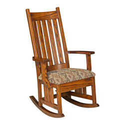 Chelsea Home Furniture - Chelsea Home Schrock Rocker - Pecan Leather - Chelsea Home Furniture proudly offers handcrafted American made heirloom quality furniture, custom made for you.