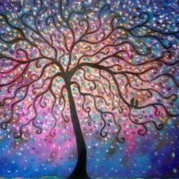 Purple - Blue - Rosy Folk Tree And Lovebirds (Original) by Jean Vadal Smith Bent - I love these colors, I must say blues and purples I am drawn to.  Dark brown tree with curling branches cascade across the colorful canvas with 2 little love birds sitting close .  Touches of gold and lighter shades of pinks and teal complete the confetti type background touches . Lots of palette knife thru out the piece!  Any questions please feel free to ask, Thanks for browsing  my art, I do appreciate it so!