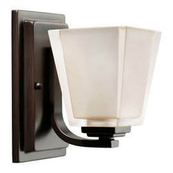 KICHLER - KICHLER Urban Ice Modern / Contemporary Wall Sconce X-ZO9545 - Traditional finishes with a modern twist, this Kichler Lighting wall sconce from the Urban Ice Collection pairs a modern, chunky style with a warm Olde Bronze finish. The equally chunky glass shade is polished on the exterior with an interior that features etching. May be installed as an up or down light. U.L. listed for damp locations.