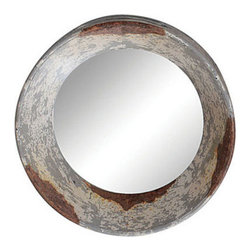 Round Zinc-Framed Mirror - Gaze into a reflection ringed with rustic, rusted galvanized iron. The antiqued finish of this mirror's frame is an interesting contrast against the mirror's limpid surface. It's a compact choice that can be doubled or even tripled for a larger-impact installation.