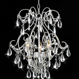 None - Elisa 3-light Spray Paint Silver Chandelier - Enhance the elegance of your dining room with this three-light silver chandelier from Elisa. Constructed from silver-finished iron accented by dazzling dangling crystals, this exquisite chandelier illuminates your room in softly diffused light.