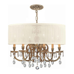 Crystorama - Crystorama Brentwood 1 Tier Chandelier in Olde Brass - Shown in picture: Ornate Cast Brass Chandelier Accented with Swarovski Elements Crystal & Antique White Shade; The Brentwood Collection from Crystorama offers a nice mix of traditional lighting designs with large tailored encompassing shades. Adding either the Harvest Gold or the Antique White shade to these best selling skus opens the door to endless possibilities.
