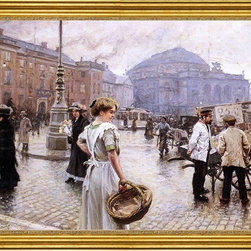 "Paul-Gustave Fischer-18""x24"" Framed Canvas - 18"" x 24"" Paul-Gustave Fischer A View of Kongens Nytorv, Copenhagen framed premium canvas print reproduced to meet museum quality standards. Our museum quality canvas prints are produced using high-precision print technology for a more accurate reproduction printed on high quality canvas with fade-resistant, archival inks. Our progressive business model allows us to offer works of art to you at the best wholesale pricing, significantly less than art gallery prices, affordable to all. This artwork is hand stretched onto wooden stretcher bars, then mounted into our 3"" wide gold finish frame with black panel by one of our expert framers. Our framed canvas print comes with hardware, ready to hang on your wall.  We present a comprehensive collection of exceptional canvas art reproductions by Paul-Gustave Fischer."