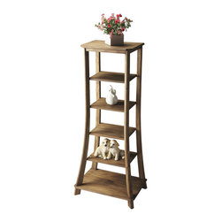 Butler Specialty - Butler Etagere - This statuesque etagere is the perfect canvas for displaying your cherished photos, favorite artifacts and books. Crafted from solid acaia hardwood, it features four adjustable shelves, plus top and base, in an expressive Sandy Shore finish.