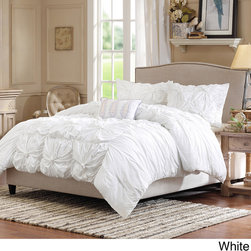 Madison Park - Madison Park Maxine Cotton 4-piece Comforter Set - This gorgeous set is available in either a white or lavender color option, either of which goes well with its fluffy texture. The set includes two shams and one embroidered decorative pillow, adding color and detail to this collection.