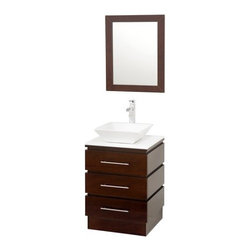 Wyndham Collection Rioni 22.25-in. Single Bathroom Vanity Set - Make a modern statement in any bathroom with the Wyndham Collection Rioni 22.25-inch Single Bathroom Vanity. Quality constructed of beautiful natural wood veneers over solid oak hardwood to constructed of beautiful veneers over the highest grade MDF; this vanity set is a perfect update that blends a classic sensibility with a contemporary functionality. It features a single pedestal with smooth-opening drawers that reveal spacious storage. The vessel sink and matching floating countertop come in either porcelain or smoke glass options. Check your look within the matching wood framed mirror. Perfect for apartments, secondary bathrooms, or where space is an issue, yet style isn't.About the Wyndham CollectionWyndham and the Wyndham collection are all about refinement, detailing, uniqueness, quality, and longevity. They are dedicated to the quality of their products and own the factory where each piece is constructed. This allows Wyndham to offer products that reflect the rigorous quality standards required for every piece that is offered to their customers. The Wyndham collection showcases elegant, modern design styles that highlight functionality and style in every detail.