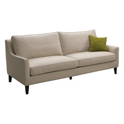 Sunpan - Hanover Sofa, Beige Fabric With Espresso Legs - Graceful contoured track arms give this sofa an elegant but contemporary look. Foam and fiber filled cushions make it exceptionally comfortable. Stocked in a beige cotton-linen fabric with a kiln dried solid wood frame. No assembly required.
