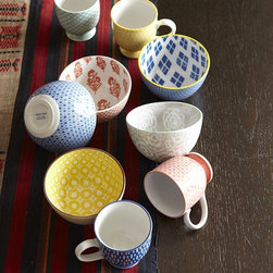Modernist Collection - Cheer up your morning routine. Made in Japan using special printing techniques, these playful patterned Modernist Bowls and Mugs are inspired by retro motifs from 1950s diners.