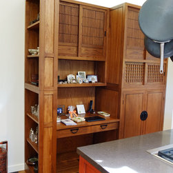 Kitchen pantry/workstation - Japanese style kitchen pantry, work station. Elm wood, teak finish.