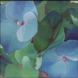 Amanti Art - Hydrangeas Framed Print by Leni Bates - A collection of Hydrangea spread their petals in a celebration of greens and blues in this stunning fine art photograph by Leni Bates.