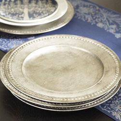 Gilt Charger, Silver - What I love about these hand-brushed chargers is that you can use them with pretty much any type of dish. They go great with every color scheme and add a finished look to your table.