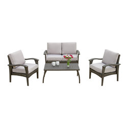 Great Deal Furniture - Voyage Outdoor 4pc Sofa Set, Grey - The Voyage Outdoor Sofa Set creates an exotic paradise in your own back yard. This set is known for its graceful curves and contemporary style. The rich grey color works in almost any outdoor setting and with almost any patio furniture. This set is the perfect place to entertain guests with cocktails, read a book, or lounge by the pool. Your family and friends will love its comfortable cushions and its elegant style. The entire set is made from PE Wicker, the industry standard and known for its weather resistance and durability. For style, reliability, and comfort, no other outdoor sofa set comes close to the Voyage Outdoor Sofa Set.