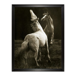 Kathy Kuo Home - Hyden Rustic Lodge Modern Playing Pair Horse Photo Wall Art - Large Framed - Create dynamism on your wall when you hang this vivacious photograph of two horses playing. This stunning black-and-white shot would look incredible in your children's playroom, or as a conversation piece in the dining room. This vintage-inspired horse portrait is available framed or unframed.
