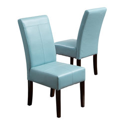 Great Deal Furniture - Emilia Fabric Dining Chair (Set of 2), Teal - Our Emilia bonded leather dining chairs are the perfect upgrade to your dining room. Built of hardwood, these comfortable chairs are well padded and covered in soft fabric. The teal bonded leather is a great way to add a pop of color.