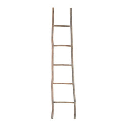Lazy Susan - Wood White Washed Ladder-Large - Step up your decorating game with this fun and functional ladder. It's handcrafted of tanoak wood with a light distressed finish that makes it rustic and refined. It's great for hanging towels or throws — or elevating an otherwise bland corner.