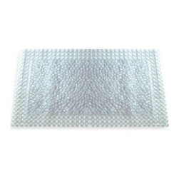 "Better Sleep - Grande Bath Mat in Clear - You can trim this clear, extra-large bath mat to fit your tub perfectly. It's made out of soft vinyl with a textured, non-slip surface. The bath mat also features 400 sure-grip suction cups to hold it in place in your tub. Measures 19"" W x 38"" L."