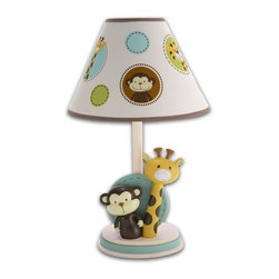NoJo - Jungle Tales Lamp & Shade - -Lamp & shade features happy jungle animal motif. -Adorable unisex design with modern style. -Versatile palette of green, blue, yellow, and brown. -Printed paper shade with dots and animal faces. -Painted resin base with giraffe and monkey. -Uses a 40-watt bulb (not included). -UL listed. -Socket switch. -Coordinates with the NoJo Jungle Tales Crib Bedding Collection. ***Please note that these products cannot be shipped to Alaska, Hawaii, or Puerto Rico. We apologize for the inconvenience - feel free to call us regarding alternatives!
