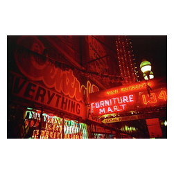 Furniture Mart, Chicago, Limited Edition, Photograph - Have yourself a little snippet of the asphalt jungle with this urban snapshot. The bright red neon is practically a universal symbol of downtown. If your friends get curious, you can tell them it's actually Chicago.