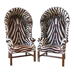 """Pre-owned Butler's Chairs in Full Zebra Print - Just reduced from $9500.     Zebra Hunt!    Collector says """"These stopped me flat in my tracks. These are amazing, phenomenally comfortable butler's chairs.  Full stenciled hide all the way around.  You will be the envy of your friends, I promise!"""" And we agree! So much so that these chairs are actually in our office's storefront window in SF!    Arm height is 27""""  Seat height is 17"""""""