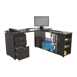 """Inval America - Computer Work Station """"L"""" Shaped - This workstation would be a wonderful addition to any home office. It features plenty of storage for an organized work space.�"""